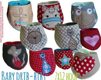7x12 hoop - ITH embroidery design file - baby drib bip - bandana