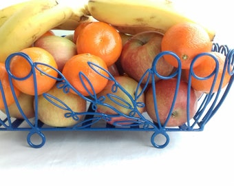 BASKET has fruit olive blue handmade wrought iron with handmade recycled metal industrial