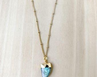 Mini Labradorite Horn Necklace, Mini Tusk Necklace, Dainty Horn Necklace, Labradorite Tusk Necklace, Layering Necklace