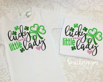 St. Patricks Day Shirt, Girls St. Patricks, St. Patty's, Lucky little lady, Baby St Pattys, Baby's first, St. Patrick's, St Patricks day out