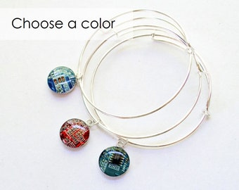Recycled Circuit Board Expandable Bracelet CHOOSE COLOR, Adjustable Silver Plated Bangle, Geeky Bracelet, Wearable Technology Gift for Her