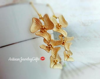 Matte Gold Orchid Earrings Orchid Trio Earrings Gold Orchid Flower Earrings Dangle Earrings Bridal Earrings Bridesmaid Earrings Gift For Her