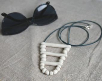 Handmade porcelain beaded necklace, Ceramic jewelry, Clay beads.