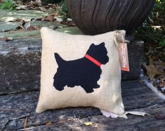 Yorkie silhouette pillow