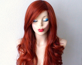 Copper Red wig. Lace front wig. Long curly hairstyle Quality Heat resistant synthetic wig for daytime use or Cosplay.