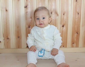 Baby wool set Soviet baby woolen set Unisex baby warm set White baby clothing Vintage baby clothes Baby winter clothes