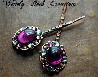 Plum Purple Bindi Style Steampunk Bobby Pin Set of 2 - Wedding, Rhinestone, Belly Dance, Fairy