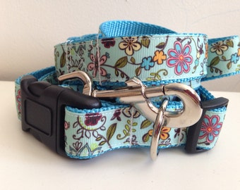 Colorful Blue Flowers on Teal Leash and Collar Set