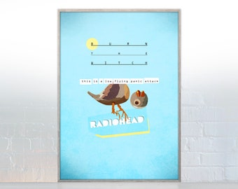PRINT, Radiohead, Burn the witch, Radiohead poster, Band Poster, Radiohead Artwork, Blue, panic attack, bird, album,