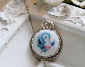 Bluebird of Happiness Sterling Blue Bird Edged Porcelain Pendant Charm