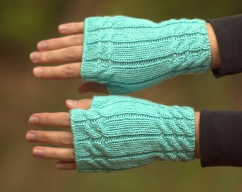 Womens fingerless gloves Knitted texting gloves Mint fingerless mitts Tiffany fingerless Hand warmers Knitted gloves Spring mittens