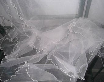 Fluted Tulle Bridal Wrap, Sash, Shawl, available in White, Ivory or Black