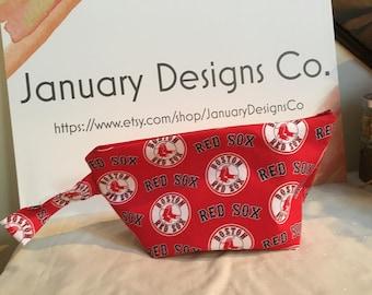 Knitting Project Bag, Sock Bag, Project Bag, Small Knitting Project Bag, Crochet Project Bag, Zipper Bag, WIP Bag, Red Sox, Baseball
