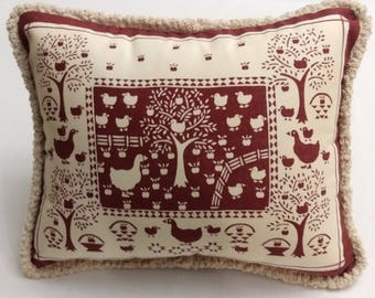 """Geese,Ducks,Apples,Red Brick and Cream Country Scene15""""x13"""" Cover with Fringe,Zippered,Insert Included,Ready to Ship,You Pay Shipping."""