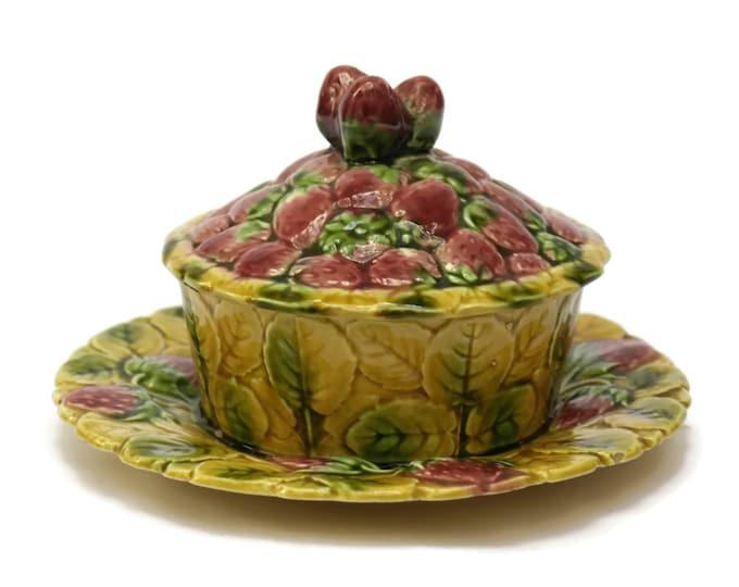 Majolica Strawberry Jam Pot. French Vintage Sarreguemines Ceramic Preserve Pot. Jelly Jar. Country Cottage Kitchen Decor. Gift for Mom.