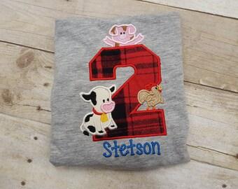 Farm Birthday Shirt, Farm Animal Shirt, Birthday Shirt, Custom Birthday Shirt, Second Birthday, Custom Farm Shirt, Personalized Shirt