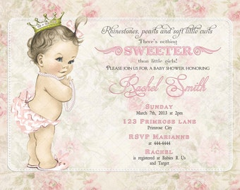 Girl Baby Shower Invitation Vintage Pink Floral and FREE Thank You Card Printable DIY