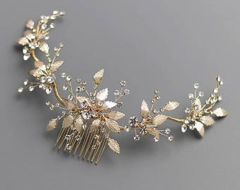Gold Wedding Hair Comb, Floral Gold Bridal Hair Comb, Gold Bridal Comb, Gold Wedding Comb, Gold Headpiece, Bridal Hair Accessories - 7017