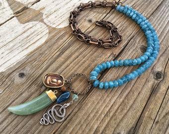Lange böhmischen Blauquarz Halskette, Bronze Kette, Sterling Schlange, Buddha, Jade, Horn