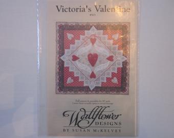 "Victoria's Valentine #503, Wallflowers Designs, 39"" quilt pattern, hearts, lace,vintage"