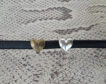 Loop leather strip of 5 mm heart silver or bronze