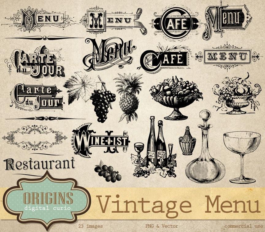 Was Ist Vintage vintage menu vectors clipart wine list typography antique