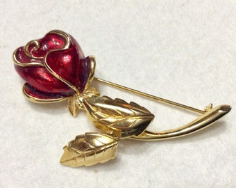 REd enamel rose trembler leaves brooch pin.