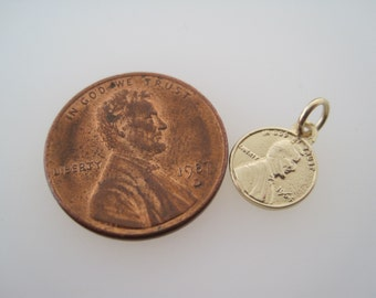 Miniature 14K Solid Gold Penny - Solid Gold - Charm -Pennies From Heaven- Lucky Penny - Coin - Penny Jewelry -Memorial Jewelry - Meaningful