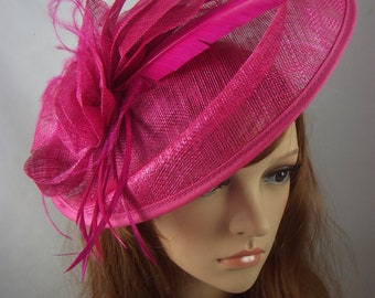 Fuchsia Hot Pink Large Oval Saucer Sinamay Fascinator - Occasion Wedding Races Hat