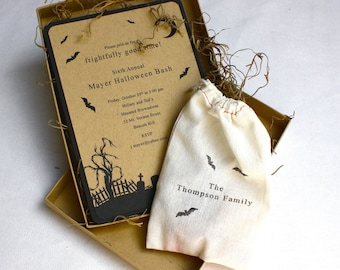 Frightful Graveyard Halloween Party Invitation - Box Mailer, Personalized Muslin Treat Bag, Spanish Moss, Multi-Layered Invitation