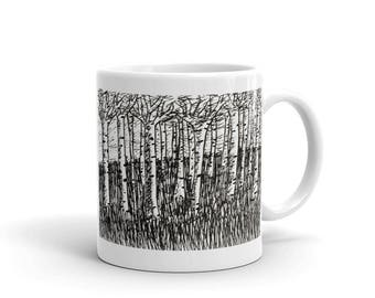 Birch Tree Art - Birch Trees Mug - Black and White Coffee Mug