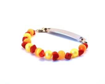 Orange, Red, and Yellow Medical Bracelet Attachment