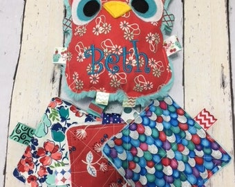 """Baby girl plush toys, owl toys, crinkle owls , and three 4"""" toys, personalization included, teething toys, cuddle toys."""