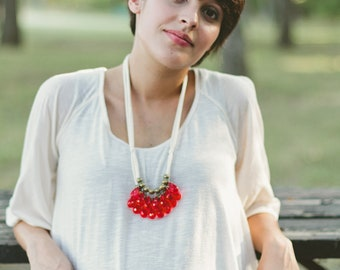 red briolette, brass and ivory necklace