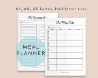Meal Planner, Grocery List, Shopping List, Shopping Planner, Meal Planning, Weekly Meal Planner, Grocery Planner, Printable