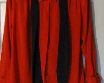 Vintage Evan Picone Petites Long Sleeve Red Blouse - Size 14