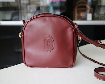 SOLD****Do not purchase **CARTIER Must De Vintage Burgundy Bordeaux Leather Shoulder Bag Crossbody Bag