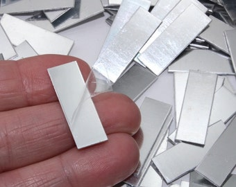 """Rectangle Stamping Blanks, 10 shiny no hole 1"""" x 3/8"""" (27.4mm x 9.7mm), anodized aluminum, 21 gauge, sold in sets of 10"""