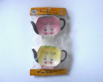 1950s New In Original Package, Vintage Ceramic Tea Bag Holders, Coasters, Japan, I Will Hold The Tea Bag, Pink, Yellow, Kettle, Teapot