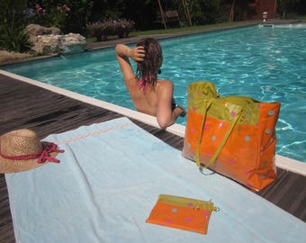 Beach bag and pouch attached orange and lime green polka dot