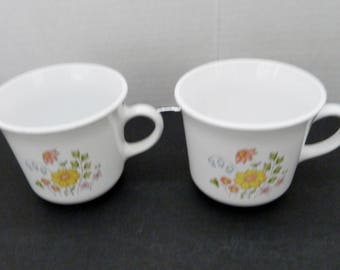 Corelle Two Flat Coffee Cups Meadow pattern by Corning USA Retired