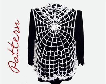 PDF Crochet Pattern: Spiderweb Circle Vest Gothic Halloween All Sizes Adult DIY Halloween Costume