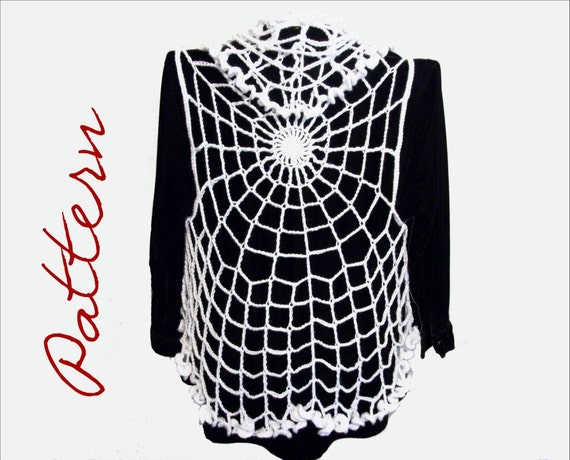 Pdf Crochet Pattern Spiderweb Circle Vest Gothic Halloween All