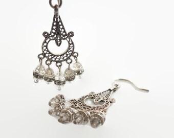 Gypsy Earrings, Sterling Silver, Vintage Earrings, Rhinestone Crystal, Big Statement, Dangle, Filagree, Boho Jewelry, Bohemian, Gypsy Hippie