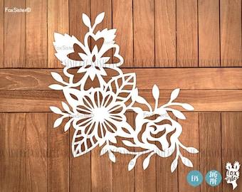 Floral SVG / PDF Papercut Template | cut file | scrapbooking | Commercial personal use | card making | Paper Cut Out | Cricut, Silhouette