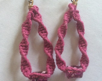 Pink hemp earrings