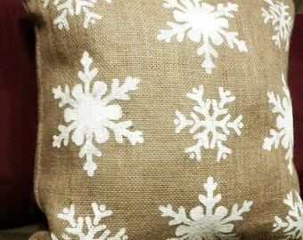 Burlap Christmas Pillow, Burlap Pillow, Snowflake Pillow, Christmas Pillow, Country Christmas Pillow, Christmas Decor, Snowflake Decor