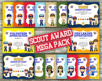NEW* Cub Scout Rank Advancement MEGA Certificate Pack - 32 Printable Awards | Includes <Girls & Boys> Lion, Tiger, Wolf, Bear, Webelos