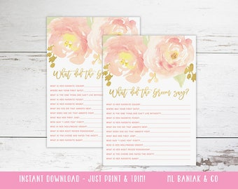 What Did the Groom Say - Bridal Shower Game - Watercolor, Pink, Blush, Gold // Digital // INSTANT DOWNLOAD //