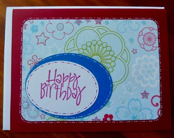 CLEARANCE: Cheerful Happy Birthday Card, Handmade Birthday Card, Birthday for Him or Her, Hand-stamped Sentiment, Paper Handmade Greeting